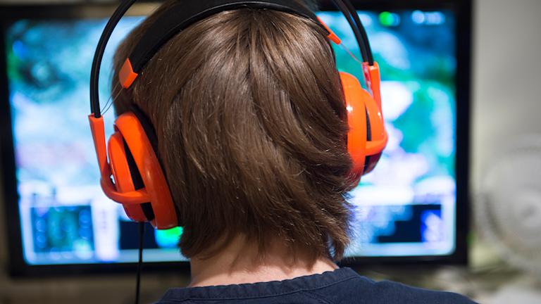 En tonåring spelar ett onlinespel på datorn i sitt pojkrum. Foto: Fredrik Sandberg/TT.