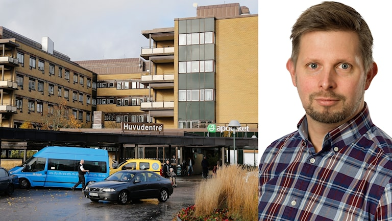 Inklippt bild på Näls kommunikationschef niklas Claesson bredvid en bild på Näls huvudentré.