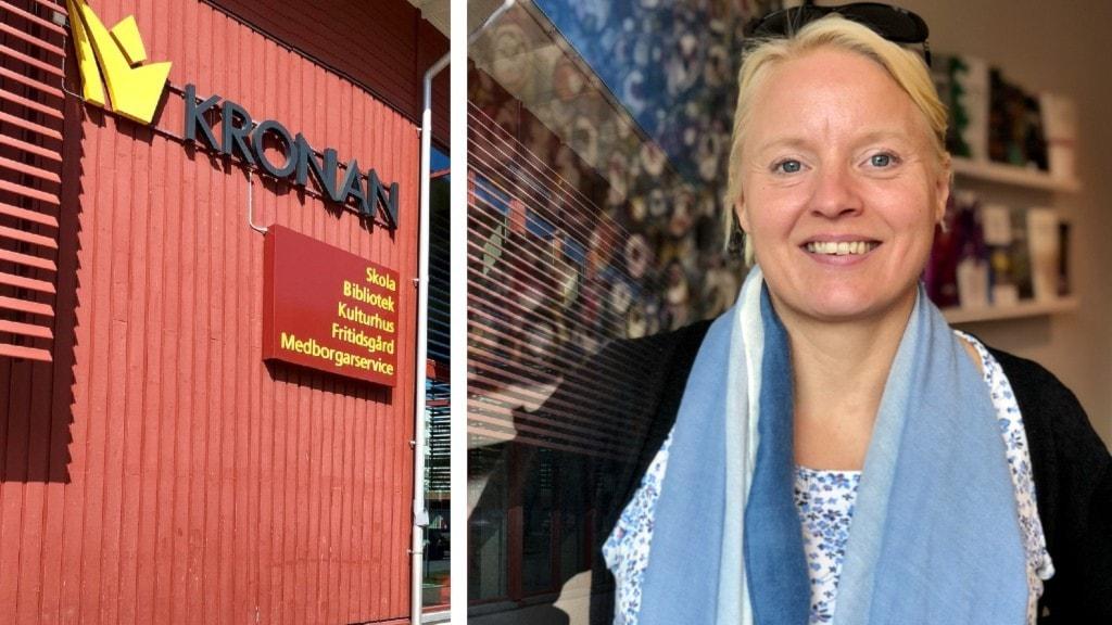 Mina Anger, F9-rektor på Kronan. Hon ler på bild, trots kritiken hon for med. Hon har en blå sjal runt halsen, svart kappa.  Blond hår och smittsamt leende.