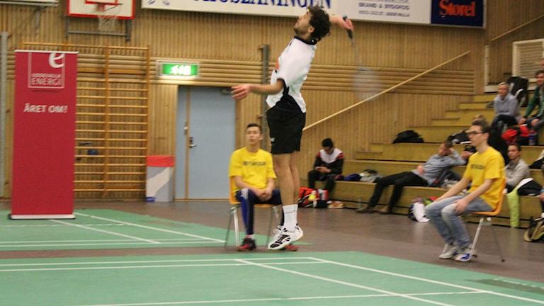 Gabriel Ulldahl från Vänersborg fick nöja sig med silver i årets upplaga av Badminton-SM. FOTO: Simon Löfving Sveriges Radio/P4 Väst