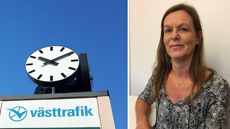 Michaela Shaw från Västtrafik syns tillsammans med en klocka och en Västtrafik skylt.