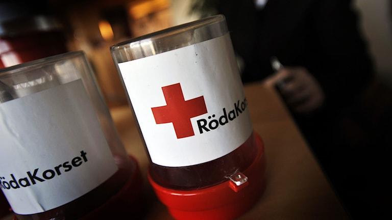 Insamlingsbössor som tillhör Röda korset. Röda Korsets insamlingsbössor. Foto: Yvonne Åsell/TT.