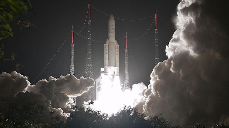 En raket vid uppskjutning. Foto: European Space Agency (ESA)/TT.