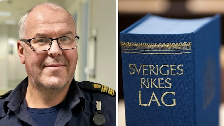 Bild på Henrik Rörberg, kommunpolis. Han har uniform på. Glasögon, gråhårig. Ler lite lurigt.