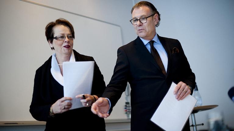 Saabs konkursförvaltare Anne-Marie Pouteaux och Hans Bergqvist. Foto: Adam Ihse/TT.