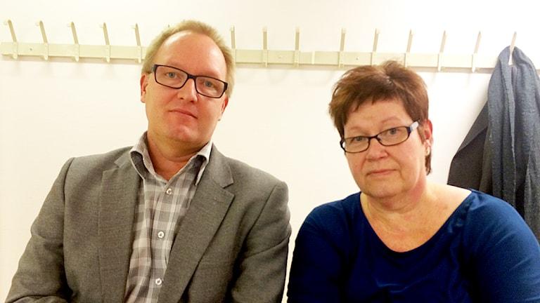 Samuel Svensson och Yvonne Åsberg, rektorer på Birger Sjöbergsgymnasiet i Vänersborg. Foto: Skoob Salihi/Sveriges Radio.