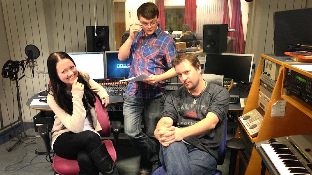 Geekpodden Trollhättan Erica Nyberg, Fredrik Fornänger, Magnus Sörensen. Foto: Cajsa Vingros Carlson / Sveriges Radio