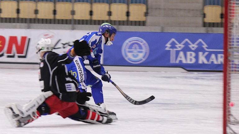 Bandy IFK Vänersborg Joakim Hedqvist gör mål mot Kalix nov -14 Foto: Elliot Ohlén/Sveriges Radio