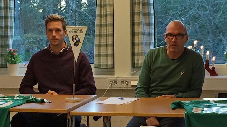LSK:s nyförvärv Alexander Mellqvist och tränaren Tor-Arne Fredheim. Foto: Sveriges Radio
