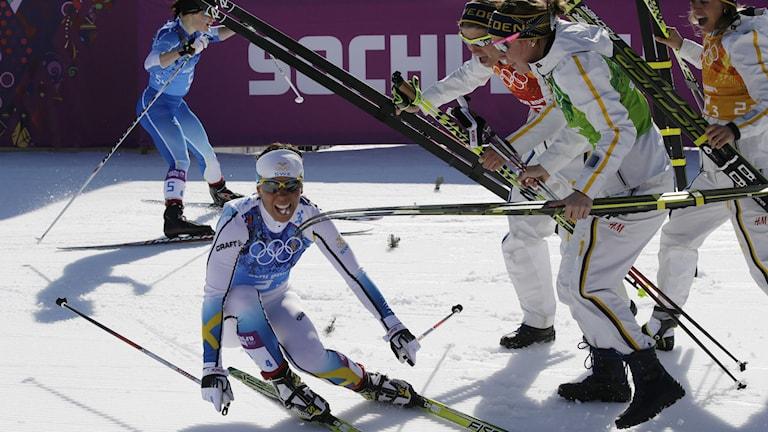 Charlotte Kalla efter OS-guldet