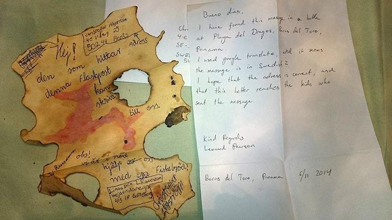 Die selbstgebastelte Schatzkarte kam mitsamt Schreiben nach 22 Jahren aus Panama zurück (Foto: Christoffer Högström .)