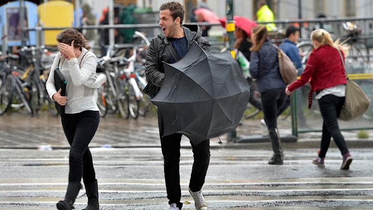 Människor som går i hård vind. Foto: Anders Wiklund/TT