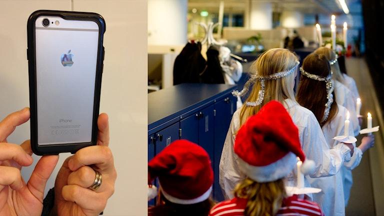 Fotomontage med en mobilkamera och ett luciatåg. Foto: P4 Väst och Pontus Lundahl/TT