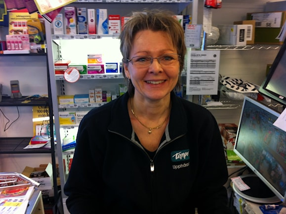 Line Olsen i kasan på Tempo i Upphärad. Foto Jörgen Winkler SR Väst