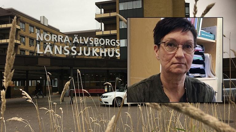 Gunilla Cederbom, verksamhetschef för endoskopienheten, inklippt framför bild på Näl.