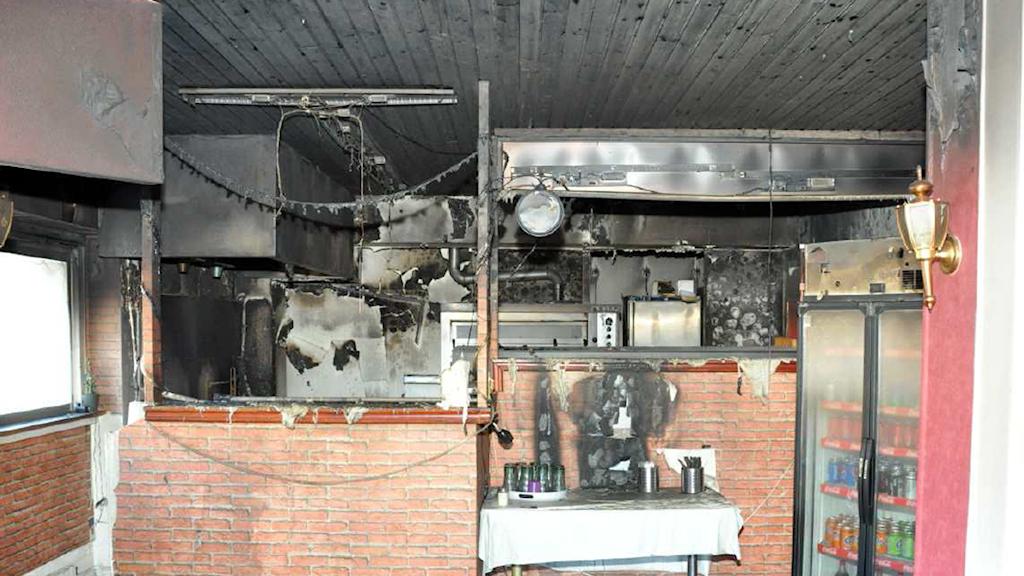 Brand på pizzeria i Uddevalla. Foto: Polisen förundersökning.