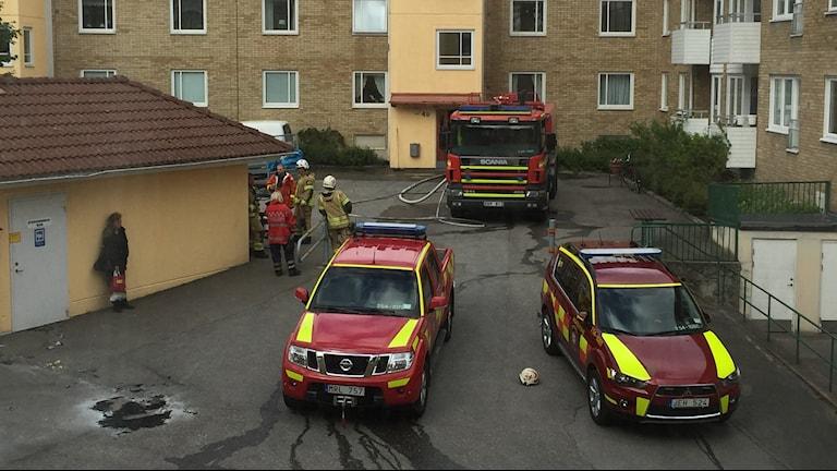 Brandbilar och brandmän vid bostadsområdet Järvstigen. Foto: Susanna Wictorzon/Sveriges Radio