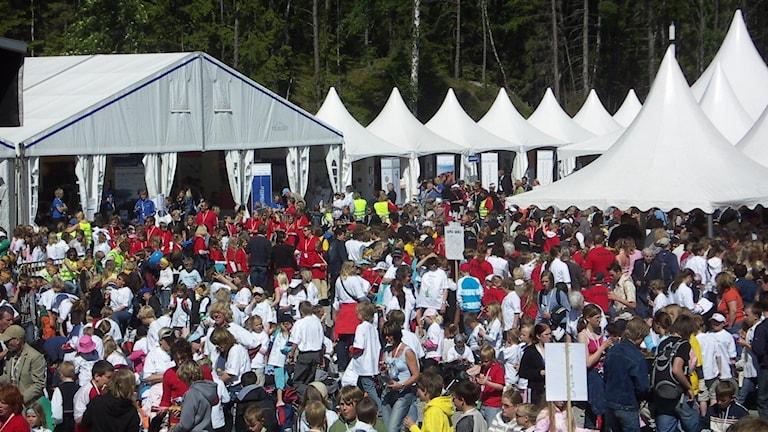 Stor folksamling under en solig sommardag med festivaltält i bakgrunden.