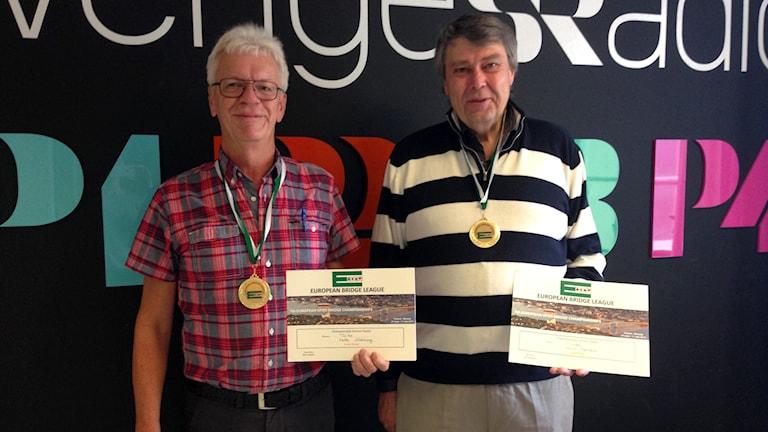 Vinnarna av bridge-EM Kalle Aldeborg och Kent Karlsson. Foto: Johanna Bodin/Sveriges Radio
