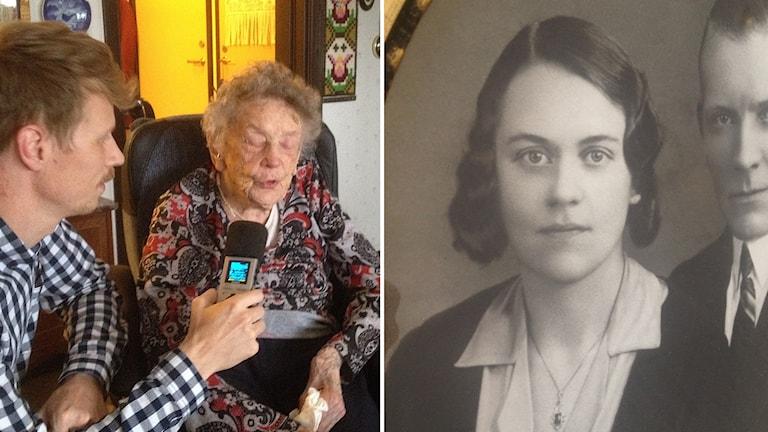 Jimmie Schewenius intervjuar Alice Östlund. Bredvid syns Alice bröllopsfoto från 1934, och bredvid skymtar maken Bernhard.