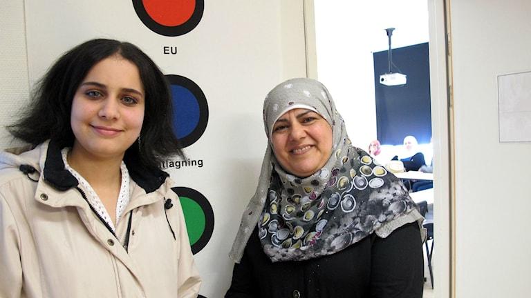 Shurouq ALBana och Hannan Quloom. Foto: Charlotte Andersson/Sveriges Radio.