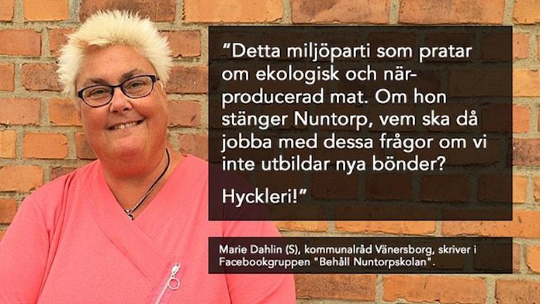 Den socialdemokratiska politikern Marie Dahlin med ett citat om miljöpartisten Birgitta Losman. Foto: Oskar Lodin/Sveriges Radio, montage: Sveriges Radio.