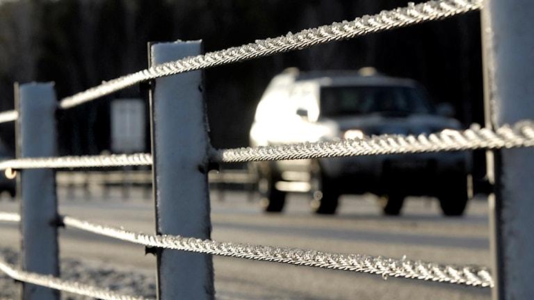 Ett mitträcke på en väg. Foto: Gunnar Lundmark/TT