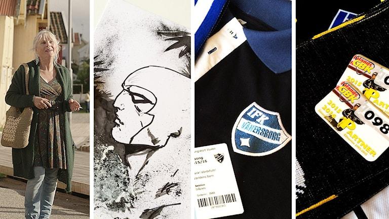 Ulla Skoog (Foto: Nille Leander), en målning av Henrik Jonsson som visar Fantomen samt två bilder på säsongskort med mera från IFK Vänersborg och Gripen Trollhättan BK (Foto: Susanna Wictorzon/Sveriges Radio.