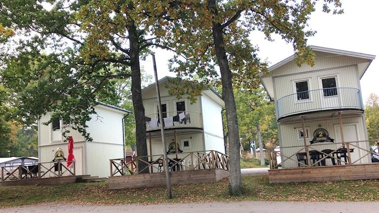 Stugbyn på Ursands camping. Foto: Lasse Sergård/Sveriges Radio.
