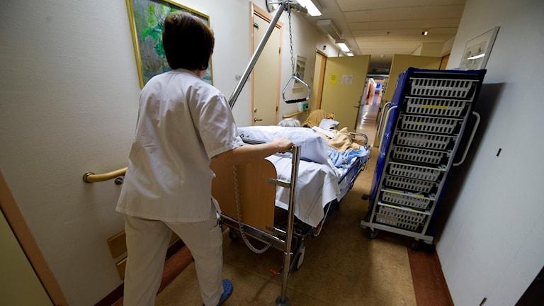 Vårdpersonal med en patient i en sjukhuskorridor. Foto: Bertil Ericson/TT.