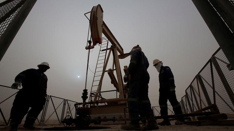 Arbetare vid en oljepump. Foto: Hasan Jamali/TT.