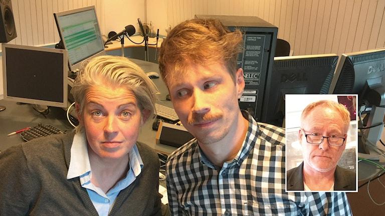 Therese McDonald och Jimmie Schewenius, och Peter Sundblad. Foto: Susanna Wictorzon/Sveriges Radio.