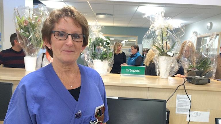Sjuksköterskan Gunilla Mattsson. Foto: Skoob Salihi/Sveriges Radio.