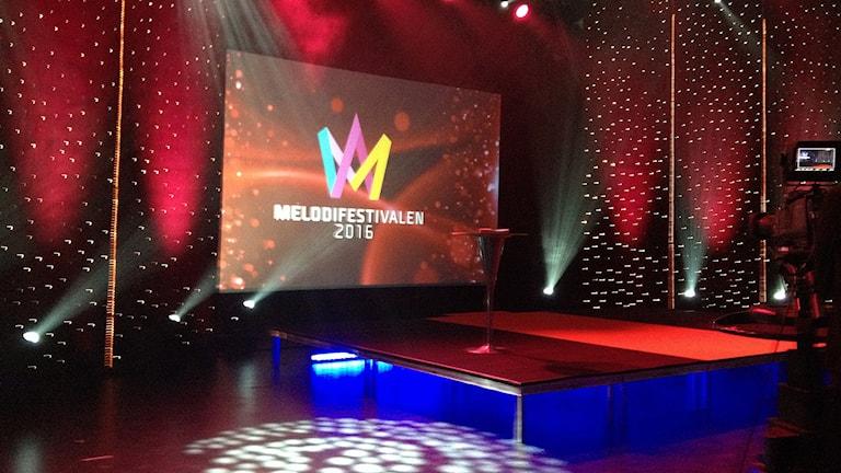 Scenen där deltagarna i Melodifestivalen 2016 ska presenteras. Foto: Marcus Gorne/Sveriges Radio.