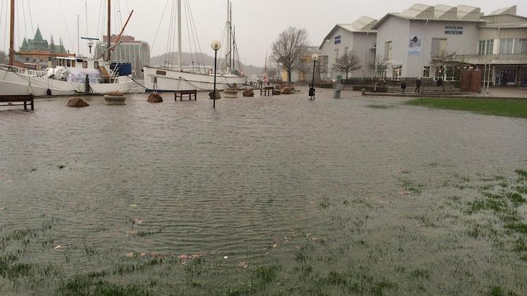 Översvämning i Uddevalla vid Bohusläns museum. Foto: Susanna Wictorzon/Sveriges Radio.