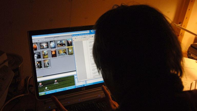 En person sitter vid en dator. Foto: Hasse Holmberg/TT.