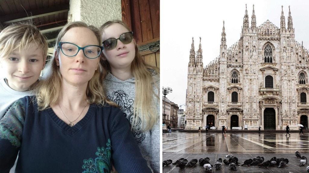 """""""Barnen har suttit hemma i två veckor nu för skolorna håller stängt"""", berättar Sofia Carlsson Fugazza. På bild ser man hennes med sin son och dotter."""