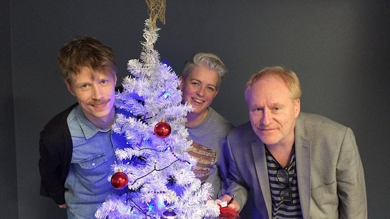 Jimmie Schewenius, Therese McDonald och Peter Sundblad. Foto: Susanna Wictorzon/Sveriges Radio.