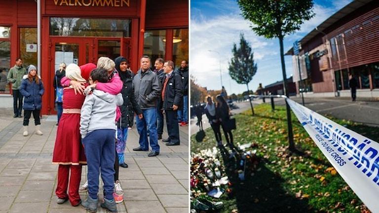 Школа в городе Тролльхеттан подверглась нападению расиста в октябре прошлого года убившего трех человек. Фото: Thomas Johansson/TT, Jonathan Nackstrand/AFP