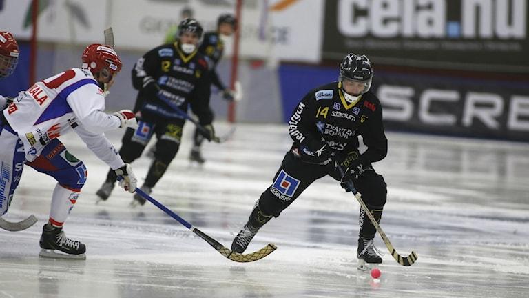 Bandy Gripen Henrik Larsson med boll