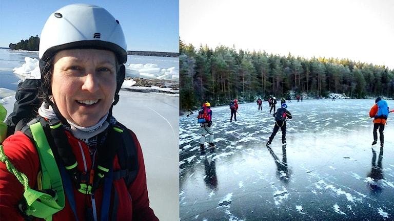 Monica Gunnarsson till vänster. Till höger en grupp långfärdsskridskoåkare på isen en klar vinterfag. Foto: Foto: Stefan Hermansson.