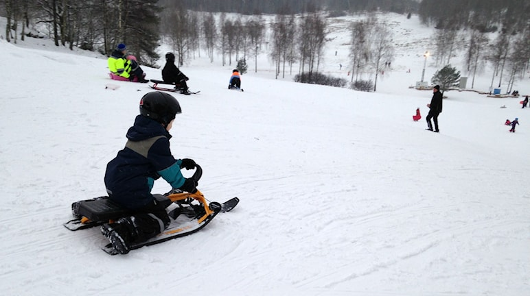 Ett barn åker snowracer vid Sanders dalar i Uddevalla. Foto: Peter Olsson/Sveriges Radio.