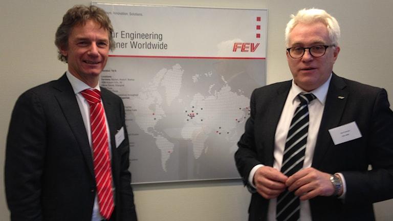 Norbert W. Alt och Dan Freiholtz från företaget FEV hoppas på ett 30-tal anställda inom ett par år. Foto: Petra Lund Kempe