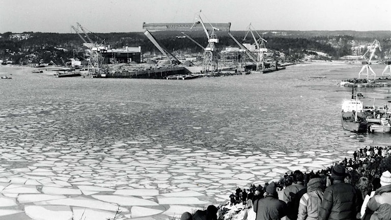 Bockkranen i Uddevalla när den revs 4 februari 1986