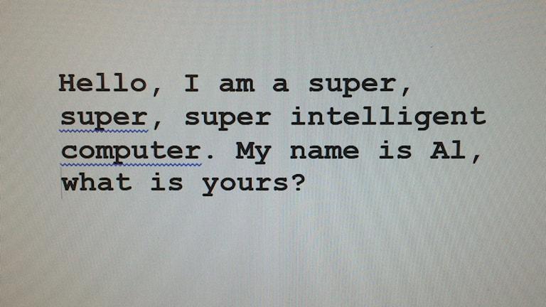 textmeddelande på en datorskärm