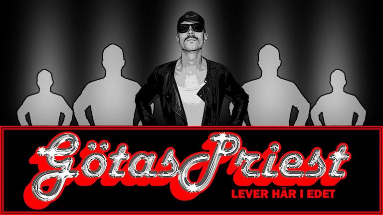 Bild på Framåt Fredags påhittade band Götas Priest. Foto: Sveriges Radio