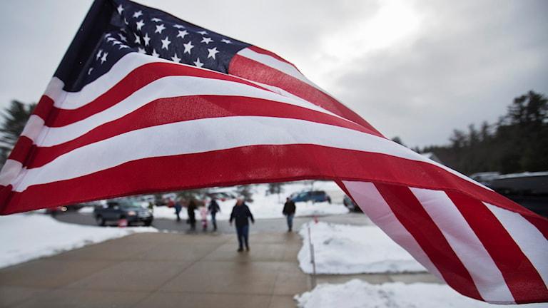 En amerikansk flagga.