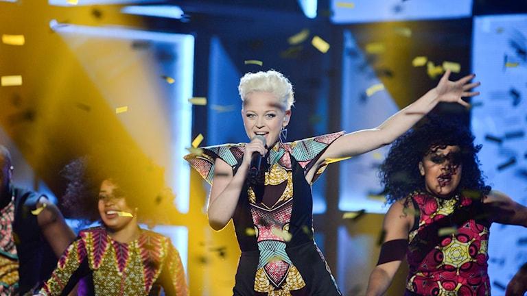SaRaha på scen i Melodifestivalen 2016.