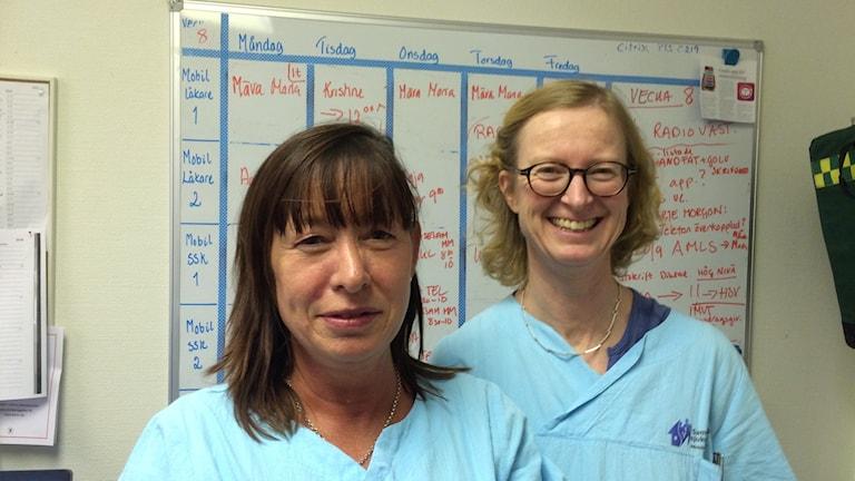 Distrikssköterskan Ulrika Simberg och läkaren Maria Johansson.
