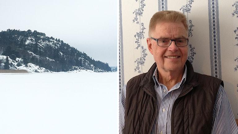Snöigt landskap och Ingemar Vänerlöv.